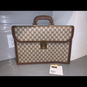 Authentic Gucci supreme vintage briefcase tote bag